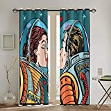 Punch Curtains,Love,Space Man and Woman Valentines Kissing Science Cosmos Couple Pop Art Design Print Living Room Bedroom Window Drapes 2 Panel Set,104 WX 84 L Inches