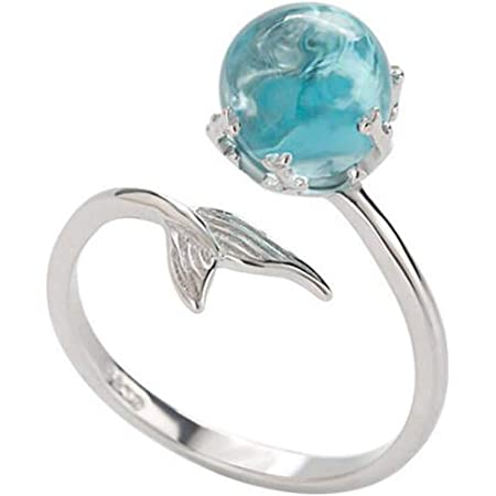 Mermaid Ring Gifts for Kids Mermaid Scale Ring Glass Ring Adjustable Ring Mermaid Mermaid Scale Favors Children Size Scale Ring