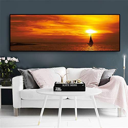 Hemel zonsondergang boot zee natuurlandschap poster en afdrukken schilderij canvas kunst Scandinavische muurkunst afbeelding voor woonkamer slaapkamer 40x120cm Q