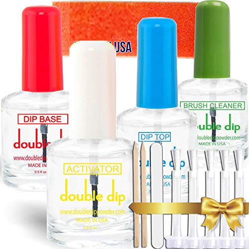 Dip Powder Nail Essential Set|USA MADE |Top Coat| Base Coat| Activator|Brush Cleaner for Nail Art 13pcs 15 ML/ 0.5 fl oz, Without UV Lamp Cure Nail Natural Dry Nail Art (Essential Dip Liquid Set)