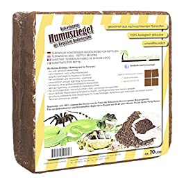 Humusziegel Terrarium Soil – Pressed Natural Coconut Husk Substrate – Premium Absorbent Coco Soil for Reptile Bedding – Block of 5kg/70L