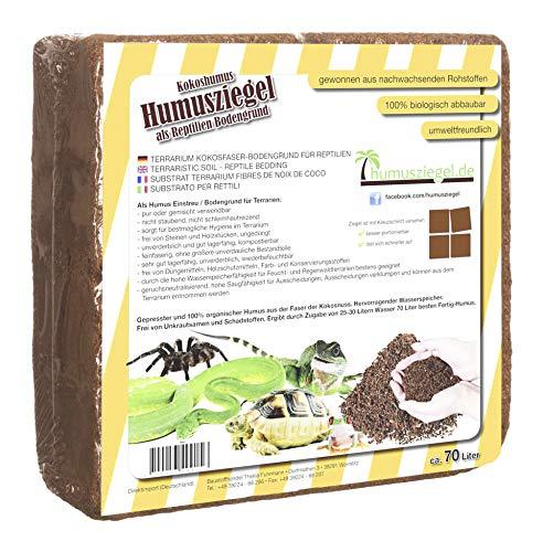 Humusziegel -70 L Bloque de Coco Basura para Reptiles, terrario sustrato terrario, Cama, Suelo, Suelo, Terreno, Humus de Coco ladrillo de Coco Fibra de Coco, Coco, de Coco Fibra de Coco briquetas