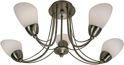 Oaks Lighting Altair - Lámpara de techo con 5 luces (pantallas de cristal translúcido, acabado de latón envejecido)