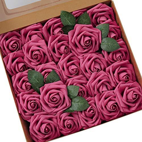 Künstliche Rosen Blumen Schaumrosen Foamrosen Kunstblumen Rosenköpfe Gefälschte Kunstrose Rose DIY Hochzeit Blumensträuße Braut Zuhause Dekoration (25 Stück, Fuchsie)