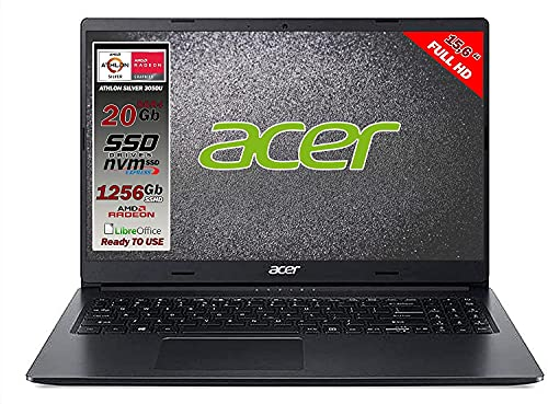 Acer Notebook Athlon 3050u, ram da 20 Gb Ddr4, SSD M.2 PCi da 256Gb + 1 Tb, Display Full HD da 15,6 pollici, web cam, usb, hdmi, bt, Win10 Pro, Libre Office, Pronto all'uso layout e Garanzia Italia