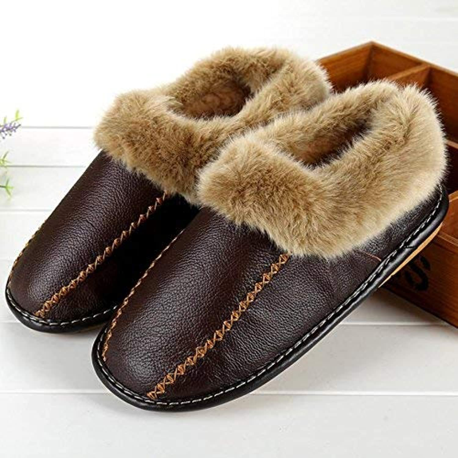 So8ooa Comfortable shoes Men's Casual Faux-Leather Slippers in Autumn and Winter The Indoor Keep Warm Slippers Black Brown for Men