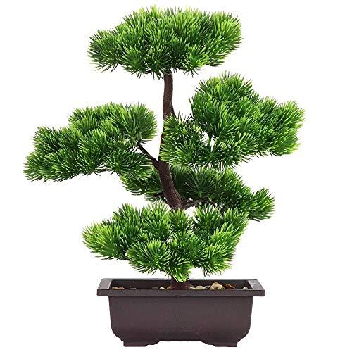 Árbol de bonsái Artificial- Pino Falsas Plantas Maceta Verde Flores Artificiales Decoraciones del