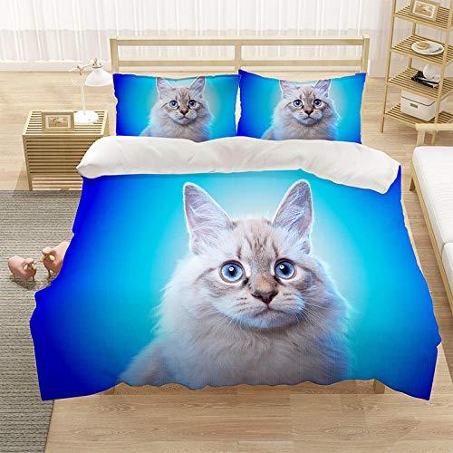 Bedclothes-Blanket Cubierta de la Cubierta del edredón para niños 3D Cubierta de Cama de 3 Piezas Super King Tamaño Animal Cat Blue Eye Eye Eye Funda de Cama con Cierre de Cremallera-9_220 * 260cm