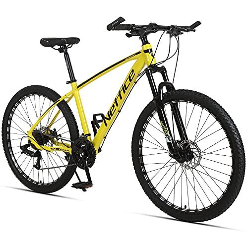 Neffice 27.5' Mountain Bike Mens 24 Speed All-Terrain Mountain Bike, High-Strength Aluminum Frame, Trigger Shift, White (Yellow)