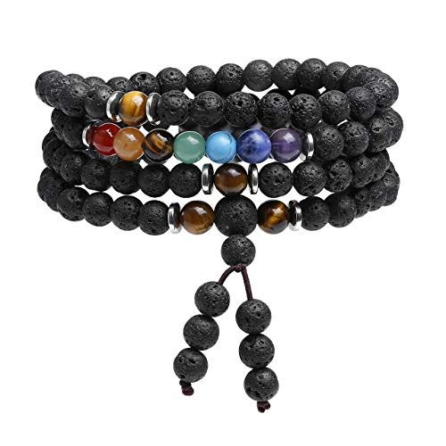JOVIVI 108 Mala Prayer Beads Meditation Bracelet 7 Chakra Crystal Healing Lava Rock Stone Essential Oil Aromatherapy Diffuser Necklace Men Women Reiki Jewellery