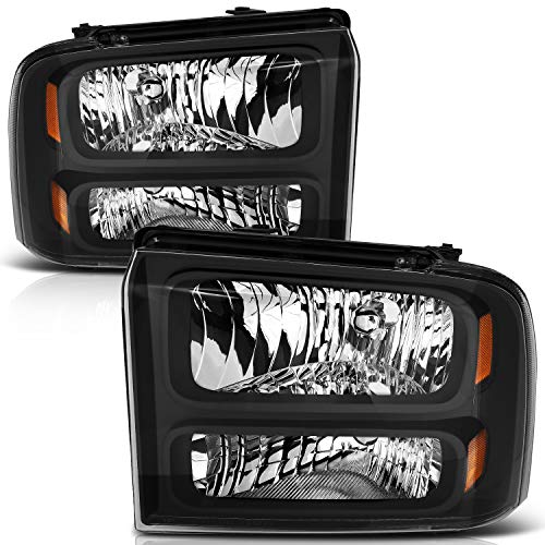 LSAILON For Ford F250 F350 F450 F550 Super Duty 2005 2006 2007 for 05 ford Excursion Headlights Assembly Replacement Amber Corner Headlamps Driver Passenger Side