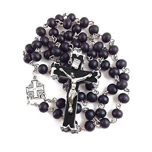Rosario Católico Religioso Cruz De Cuentas De Madera Negra Collar De Adorno Religioso Joyería Cristiana