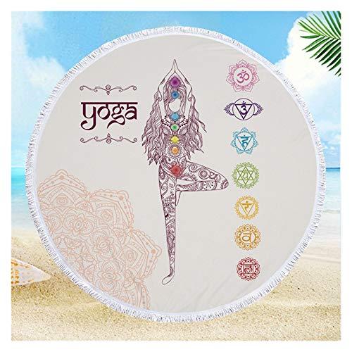 Hermosamente Mandala TapicesTry 150 cm Redondo Toalla de playa suave grande para adultos Toalla de baño de microfibra de pared con toalla de tirar borla. Alfombra al aire libre, manta de picnic,