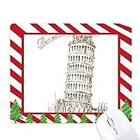 イタリアピサピサの斜塔 ゴムクリスマスキャンディマウスパッド