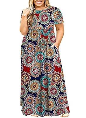 POSESHE Women Short Sleeve Loose Plain Casual Plus Size Long Maxi Dress with Pockets