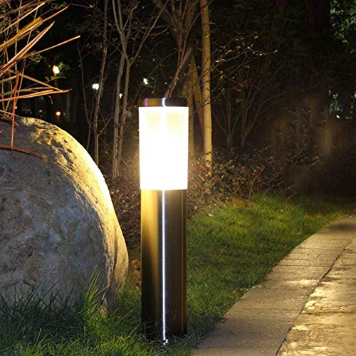 BANNAB Waterproof Outdoor E27 Stainless Steel Lawn Lamp Waterproof Villa Garden Fence Post Landscape Light Pathway Courtyard Pillar Light Lantern (Color : Silver, Size : H60CM)