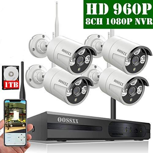 【2019 Nuevo】Sistema de Cámara Inalámbrica de Seguridad Interior/Exterior, 8 Canal 1080P NVR Kit 4 960P IP Cámaras de Videovigilancia WiFi Exterior con Alarma de Detección de Movimiento, 1TB Disco Duro