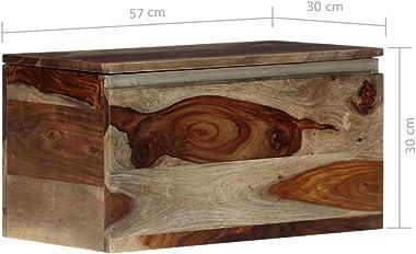 "INLIFE Storage Chest 22.4""x11.8""x11.8"" Solid Sheesham Wood"