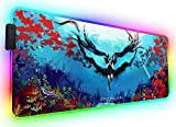Grand Tapis de Souris RGB de Jeu Étendu Anime Girl Blue Sea Pads de Clavier D'Ordinateur Portable Ports USB Pc Protecteur de Tapis de Bureau pour La Maison,Bureau 1000X500Mm