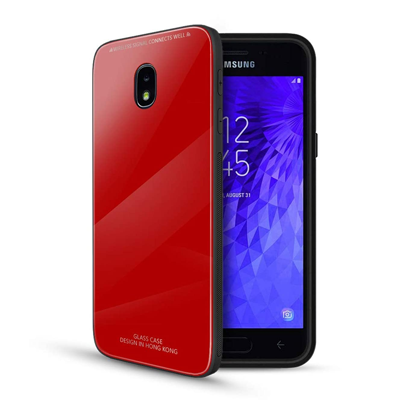 Samsung Galaxy J7 2018 Case, Tempered Glass + TPU Bumper Full Body Protection Shockproof Cover Case Drop Protection for Samsung Galaxy J7 2018/J7 V 2nd Gen/J7 Aero/J7 Star/J7 Top/J7 Crown (Red)