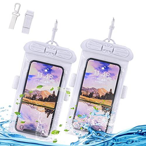 YaPanda 防水ケース [2枚セット] IPX8防水認定 最新 顔認証 iPhone 12/11/pro/mini/XS Max/XR/XS/X/8/7/6/Plus Sharp Aquos,Sony Xperia,Samsung Galaxy等対応 6.5インチ以下全機種対応 防水バッグ 防水ポーチ 水中撮影 お風呂 プール 海 温泉 水泳 砂浜 潜水など用携帯スマホケース ネックストラップ&アームバンド付属 (グレー+グレー)