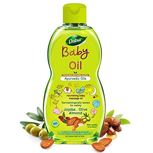 Dabur Baby Oil: Non - Sticky Baby Massage Oil with No Harmful Chemicals |Contains Jojoba , Olives & Almonds | Hypoallergenic & Dermatologically Tested with No Paraben & Phthalates - 200 ml