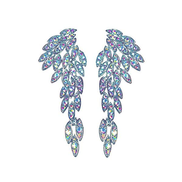Art Deco 1920's Great Gatsby Angel Wings Eagle Wings Gothic Earrings Rhinestone Retro Statement Earrings Dangling… 3