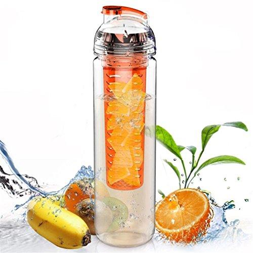 Gobelet à eau pour sport Nykkola - Bouteille d'infuseur à fruits (plusieurs options de couleur). sans Bisphénol A, Orange