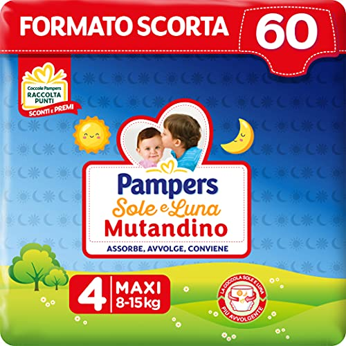Pampers Sole e Luna Pannolino a Mutandino Maxi, Taglia 4 (8-15 kg), 60 Pannolini