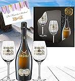 Sansibar Prosecco Geschenk-Set inkl. 2 Champagnergläserm aus Kristallglas mit Echt-Gold-Emblem...