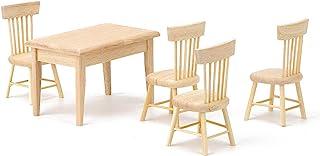 Nannday Foldable Miniature Chair Dollhouse Foldable Table and Chairs Miniature Furniture for Dollhouse 1:12 Scale