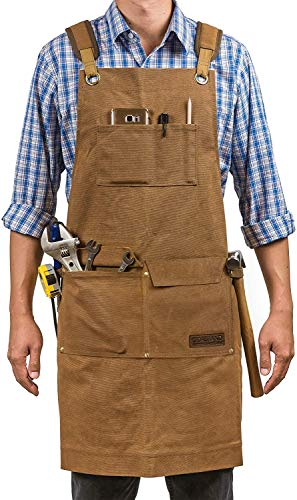 Leather Durable Apron for Men & Women Full Grain Leather Apron for Craftsmen, Mechanics, Welding, Woodworking, BBQ, Chef, Blacksmith - Heavy Duty Leather Apron