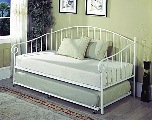 Twin Size White Metal Day Bed Frame with Pop-Up High Riser Trundle, Headboard, Footboard, Rails &...