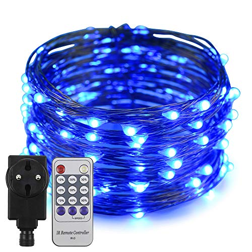 Erchen Strom-betrieben LED Lichterkette, 33 FT 100 LED 10M Stecker dimmbare Kupfer Draht Lichterketten mit 4.5V DC Adapter Fernbedienung für Innen Außen Weihnachten Party (Blau)
