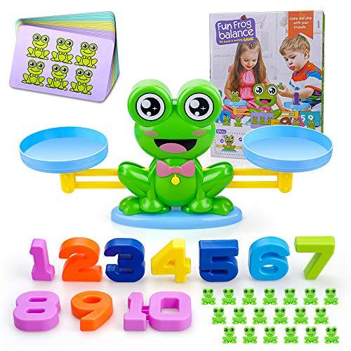 SUNTOY Frog Balance Counting Math Game Toy para niños de 3-9 años de Edad, Aprendizaje