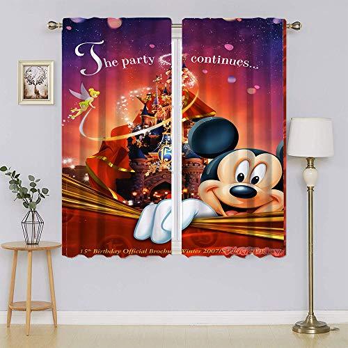 Mickey-Mouse - Cortinas opacas para ventana, filtrado de luz, mantiene el calor, cortinas para dormitorio de 52 x 63 pulgadas