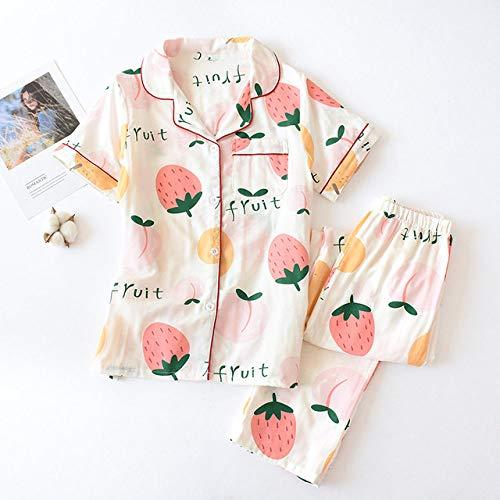 JFCDB Zomer pyjama,2020 Zomer Fresh Leaf Pyjama Dames 100% Gaas Katoen Korte Mouw Pyjama Sets Dames Nachtkleding, DKP, Fruit C, M