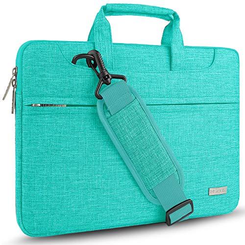 Hseok Laptop Shoulder Bag 15 15.6 16 Inch Brifecase, Compatible MacBook Pro 16 15.4 Inch, XPS 15 Spill-Resistant Handbag with Shoulder Strap for Most 14'-16' Notebooks, Linen Blue