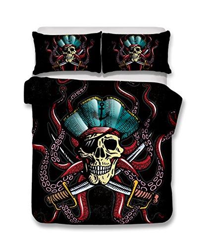 Funda nórdica diseño de esqueleto pirata, cama doble.