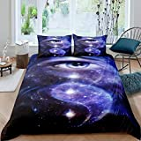 Feelyou Yin Yang Galaxy Comforter Cover Set Kids Boys Teens Void Eye Gossip Duvet Cover Trippy Psychedeli Bedding Set Traditional Ying Yang Quilt Cover,Room Decor 3Pcs Bedding Queen Size