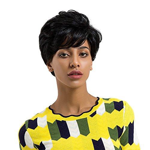 Perruque Femme Courte Vrais cheveux Réel Naturel Courts Raides Cheveux Raides Perruque Complète pour Femme Fille et Cosplay (noir)