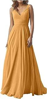 Jonlyc V Neck Sleeveless A Line Formal Dress Chiffon Bridesmaid Dress Long