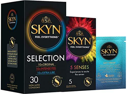 SKYN Selection, Selección De Diferentes Preservativos Sin Látex SKYN, Paquete De 30 Preservativos Más Un Paquete De 5 Preservativos SKYN Five Senses