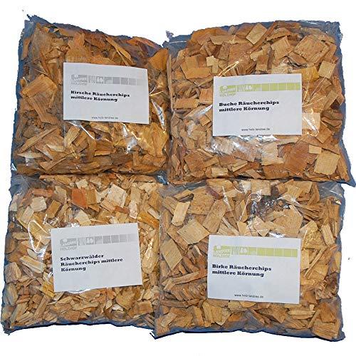 Landree Starter-Set Räucherchips 4 x je 2 Liter (Kirsche, Schwarzwälder, Buche, Birke) Späne Wood Chips für Grill Smoker BBQ