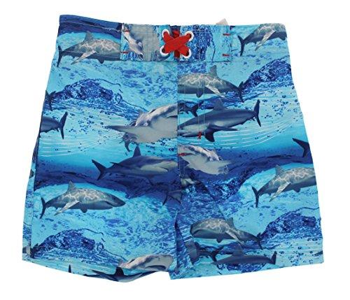 Mick Mack Toddler Boys UPF 50+ Shark Theme Swim Trunks (2T, Photo Sharks)