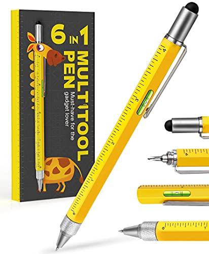 Gifts for Men Dad,Multitool Pen Construction Tools Multi,Cool Pen Tool Gadget for Men Women,Gifts for Construction Workers Engineer Woodworkers Carpenter Stylus,Ruler,Level,Screwdriver,Ballpoint Pen