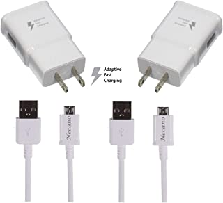 Galaxy S7 S7 Edge S6 S6 Edge LG G2 G3 G4 for Adaptive Fast Charger Micro USB 2.0 Cable Kit {Wall Charger + 5FT Cable} Fast Charging for up to 50% [Necano] (White 2 Packs)