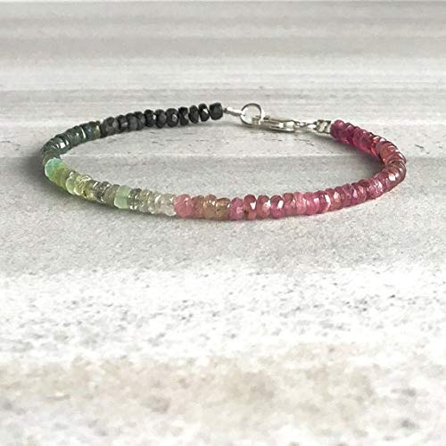 LOVEKUSH 925 Sterling Silver Blush Jewelry 3-4mm Multi Colour Watermelon Tourmaline Stracking Bracelet Rondelle, Faceted 18cm for Mens, Womens, GF, BF and Adults.