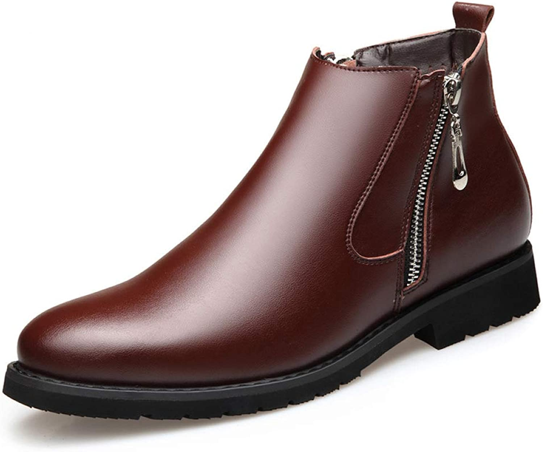 WLFHM Men's shoes Martin Boots Retro Booties Plus Velvet Warm High-top Leather Boots