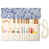 Teamoy Knitting Needles Holder Case(up to 14 Inches), Rolling Organizer for Straight and Circular Knitting Needles, Crochet Hooks and Accessories, Blue Flowers - NO Accessories Included